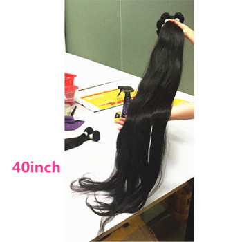 Hot selling 40inch virgin human hair straight bundles, Long length 28 30 32 34 36 38 40 inch Brazilian hair
