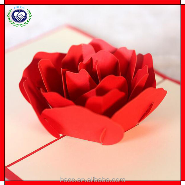 3D Hollow Out Rose Greeting Card DIY Craft Creative Paper Carving Card