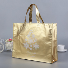 Advertising Shopping Packaging glossy gold metalic recycled pp laminated non woven bag
