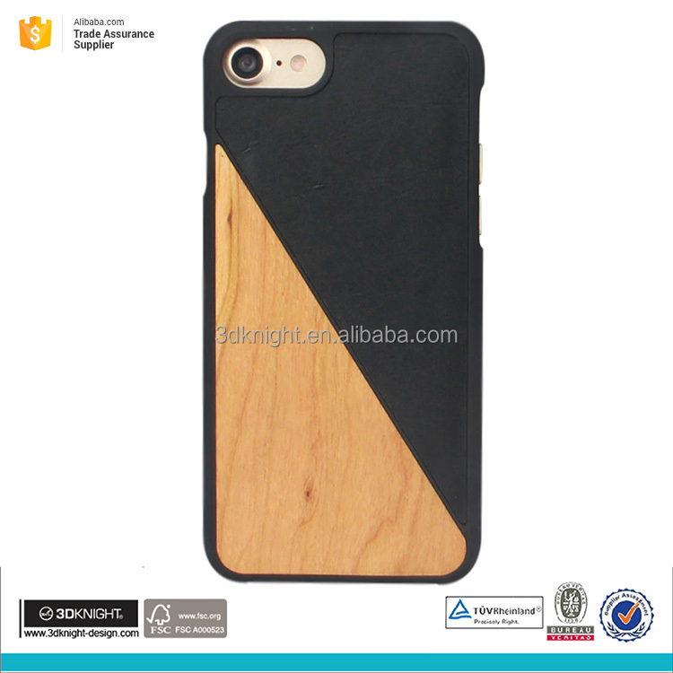Fashion design new wooden phone case for iphone 7 leather case