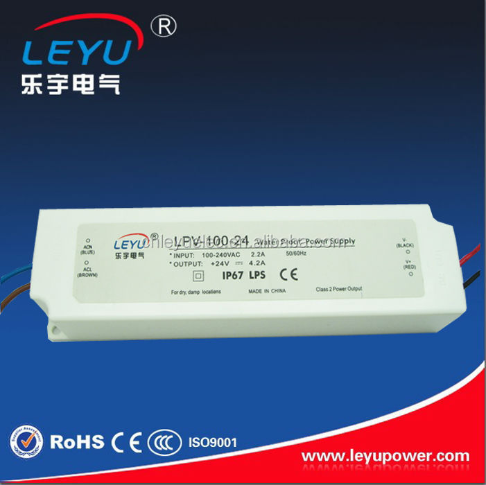 100W CE 90-264VAC Universal Input 24V 4.2A Constant Voltage IP 67 LED Transformer LPV-100-24