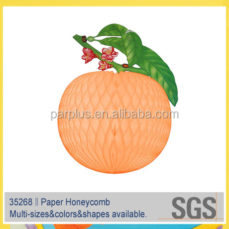 Cantaloup/hami melon Hanging Paper Honeycomb for Hawaiian and Luau party decoration