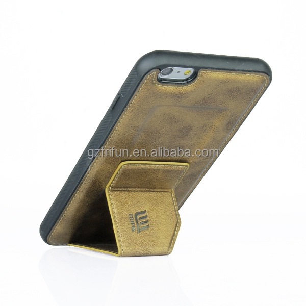 Stand Design PU Leather Back Cover for iphone 5.5 Inch Mobile Phone Case