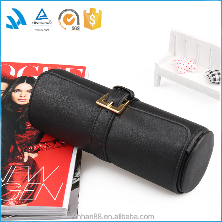 Good quality fashion round travel designer soft pu leather watch case