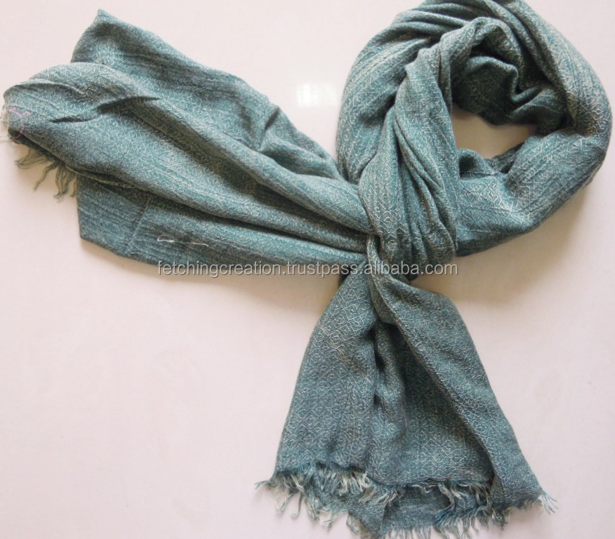 Green 100% viscose satin with acid wash cotton and viscose Scarves Scarf