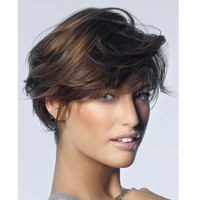 Loose Polished Modern Short Wavy Wig 100% Real Human Hair 8 Inches
