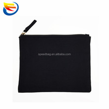 Wholesale metal zipper pouch blank canvas cotton makeup cosmetic bag