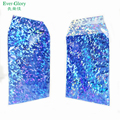 Blue adhesive holographic package bags for christmas gift