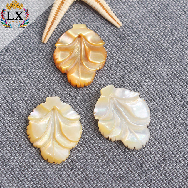 SLX-00002 Natural shell carved flower beads leaf shaped custom engraved shell beads for jewelry making