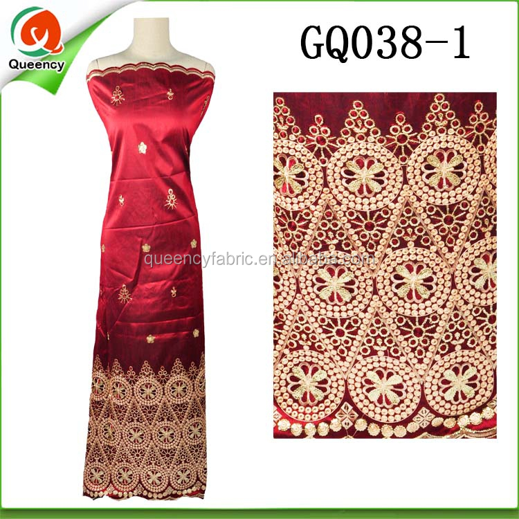 GQ038 Queency Indian Saree Fabric African George Wrapper with Flower Embroidery Design