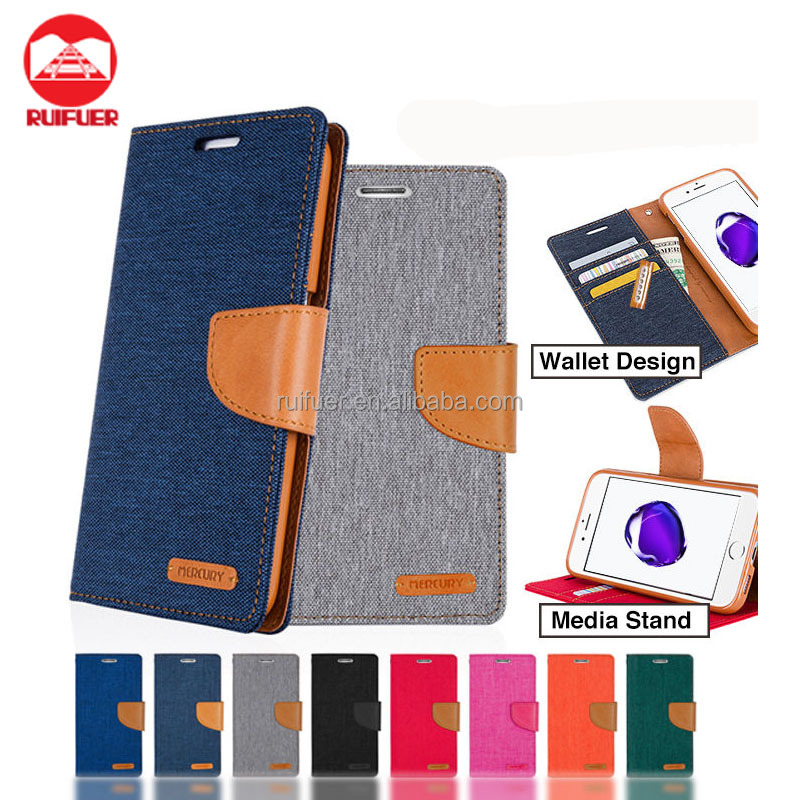 Factory Wholesale Canvas Diary Denim MERCURY Style Wallet Case Flip Cover For iPhone 7 Plus