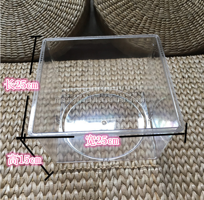 high precision Eco-friendly Acrylic snack display box mould/Transparent Acrylic Candy Box/ Clear Plastic Candy Storage Bin mold