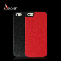 Red mobile phone cover with litchi textured leather case for iphone 5s