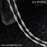 43262 Xuping white gold color chain necklace fabric choker thin chain design match with pendant