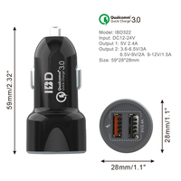 IBD new technology quick charge 3.0 portable mobile phone car usb charger with 5V 2.4A car battery charger dual usb