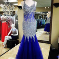 Royal Blue Crystals Beaded Evenin Dresses 2017 Halter Mermaid Evening Gowns Back Cross Straps Tulle Floor Length Formal Vestidos