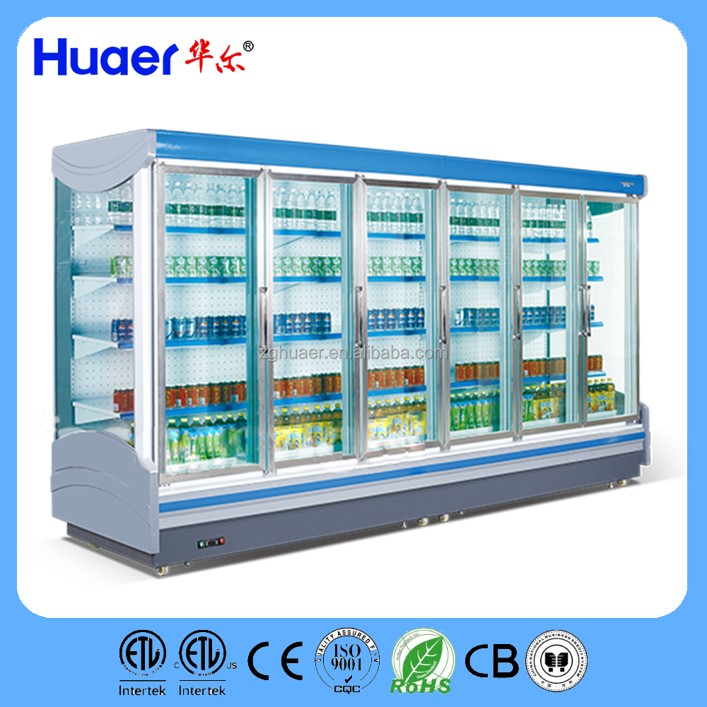 customized supermarket refrigeration equipment Vertical Air Curtain Refrigerator Merchandisers with doors cooling equipment