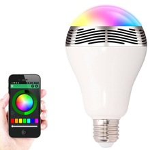 6W RGB LED Bulb Bluetooth Smart Lighting Lamp Colorful E27 Dimmable Speaker Bulb Remote Control by smart phone App