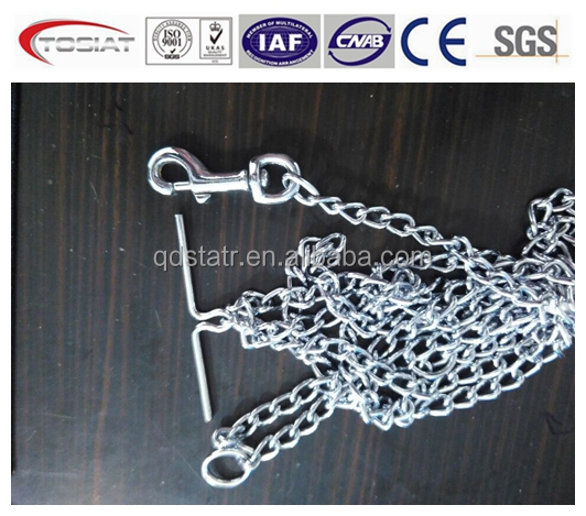 202 stainless steel twisted link dog chain with T bar, snap hook ,ring
