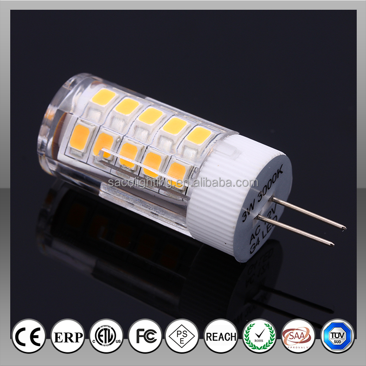 Cearmic 360degree AC/DC0-30V 1.5W 2W 3W 4W 100LM/<strong>W</strong> G4 Led Corn Bulb Light with TUV's CE,RoHS,TUV,SAA,PSE