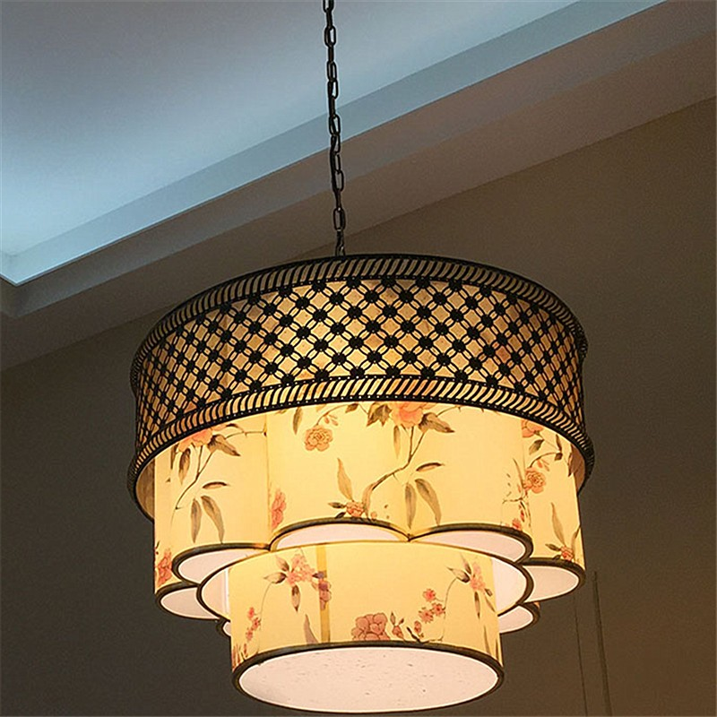 hanging fabric lamp shades in unique style,drum lampshade,big lampshade