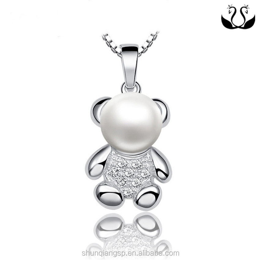 Manufacturer Direct Women Jewelry 925 Sterling Silver Pearl Bear Pendant