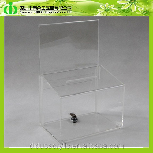 DDD-0067 Trade Assurance Shenzhen Factory Wholesale SGS Test Charity Donation Box with Sign Holder
