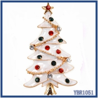 Top quality fancy brooch pin in stock ! Latest UK popular Fashion Crystal diamond mini christmas tree brooch