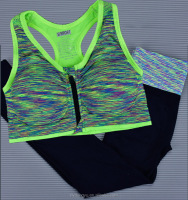 women green jogging pantss bra and top2 piece set /xsm thletic printed yoga pants sets/ yoga sports sets