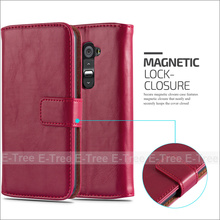 2016 Crazy Horse Pu Leather+ Tpu Inside Wallet Magnetic Buckle Stand Case For LG G2