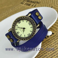 Dark blue leather band retro quartz analog ladies copper colour watches
