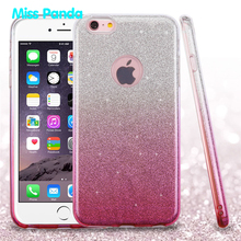 Hybrid Glitter Gradient Color Sparkle Bling Soft TPU PC 3 Layer Grip Designer Clear Phone Case For Iphone 6 6S PLUS