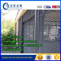Powder coated expanded metal mesh fence panel