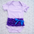 Hot Sale organic cotton baby rompers wholesale baby clothes, purple cotton romper with satin ruffle