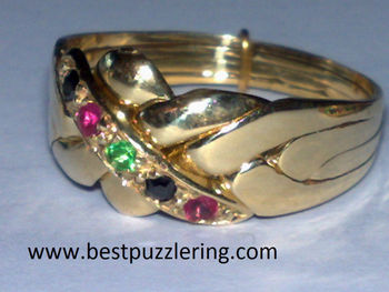14k yellow Gold 4 Band Ruby Emerald Sapphire Puzzle Ring
