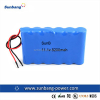 Hot sales 3S2P 18650 11.1V 5200mAh Lithium ion batteries for medical devices equipment