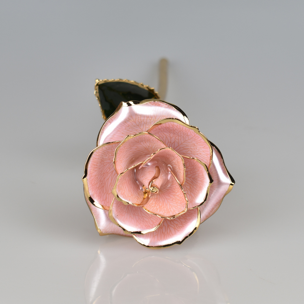 Souvenirs 24K Gold Plated Foil Pearl Pink rose flower for Wedding Guests