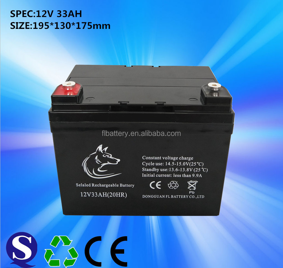 12V 33AH Deep Cycle small Lead Acid Batteries for Solar systerm
