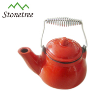 Hot Sale 2pcs Chinese Style Antique Enamel Metal Red Cast Iron Teapot