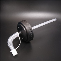long flexible drinking straw with cap