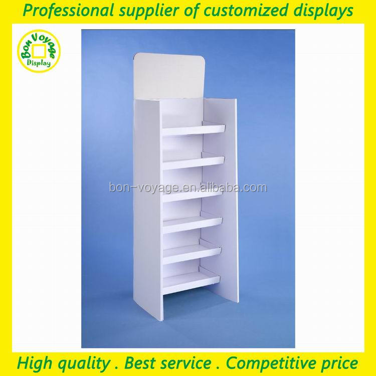 floor standing pos cardboard display stand with 6 shelves