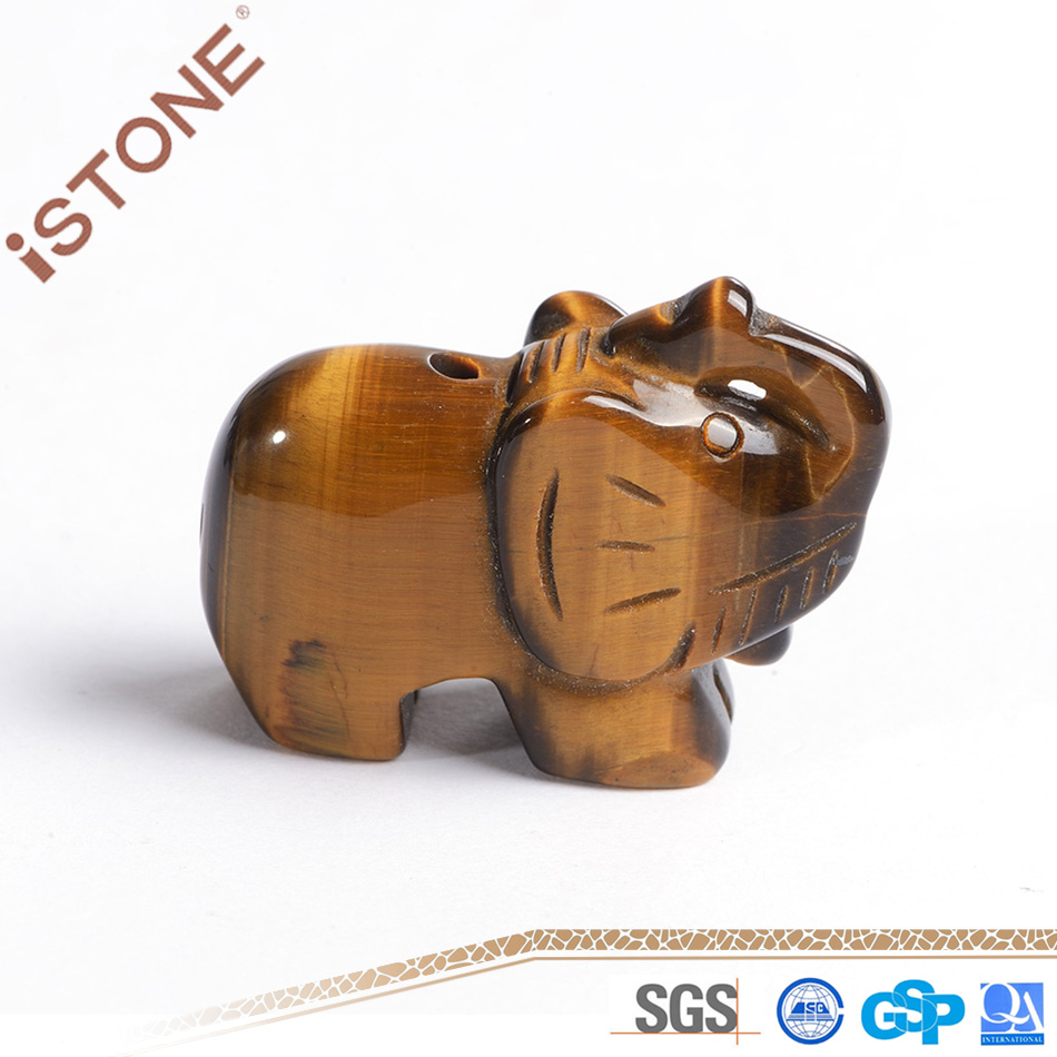 Wholesale Tiger Eye Elephant Stone Crafts For Feng Shui Home Decoration