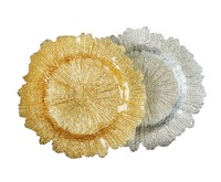SXGC Gold Silver Reef Glass Charger Plate