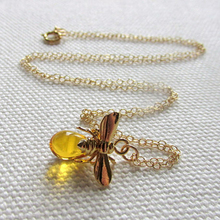 Honey Gold Bee Tiny Charm 14k Gold Fill Chain Necklace, Bee and Honey Dainty Petite Simple Jewelry Quirky Cute Animal Jewelr