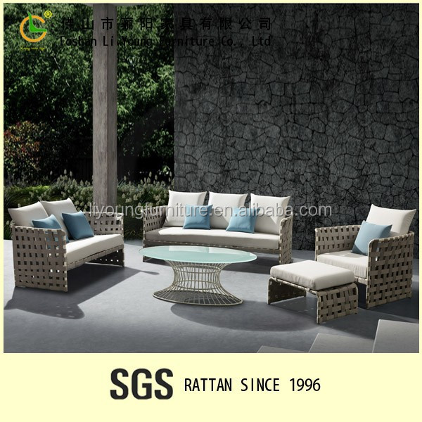 modern design UV proof sunproof fabric gray wicker garden sofa plastic outdoor furniture
