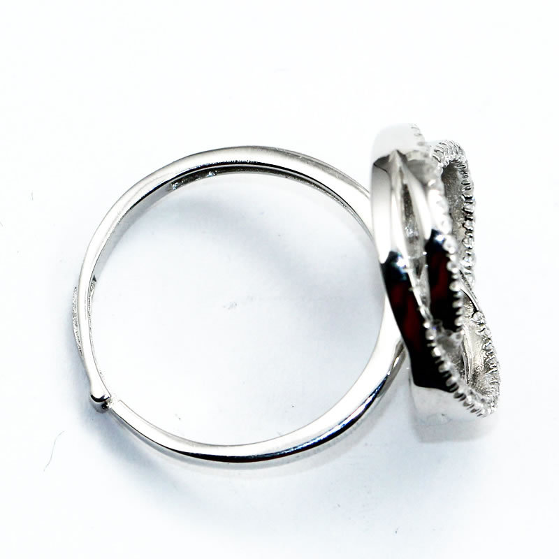 Beadsnice ID30664 925 sterling base micro pave US size 7 to 9 fit 8mm round sold by PC silver adjustable ring