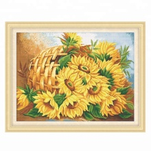 New design sunflower image 5d diamond painting on short lint canvas diy embroidery painting