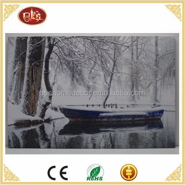 Optic Fiber winter scene lighted canvas pictures LED canvas painting with led