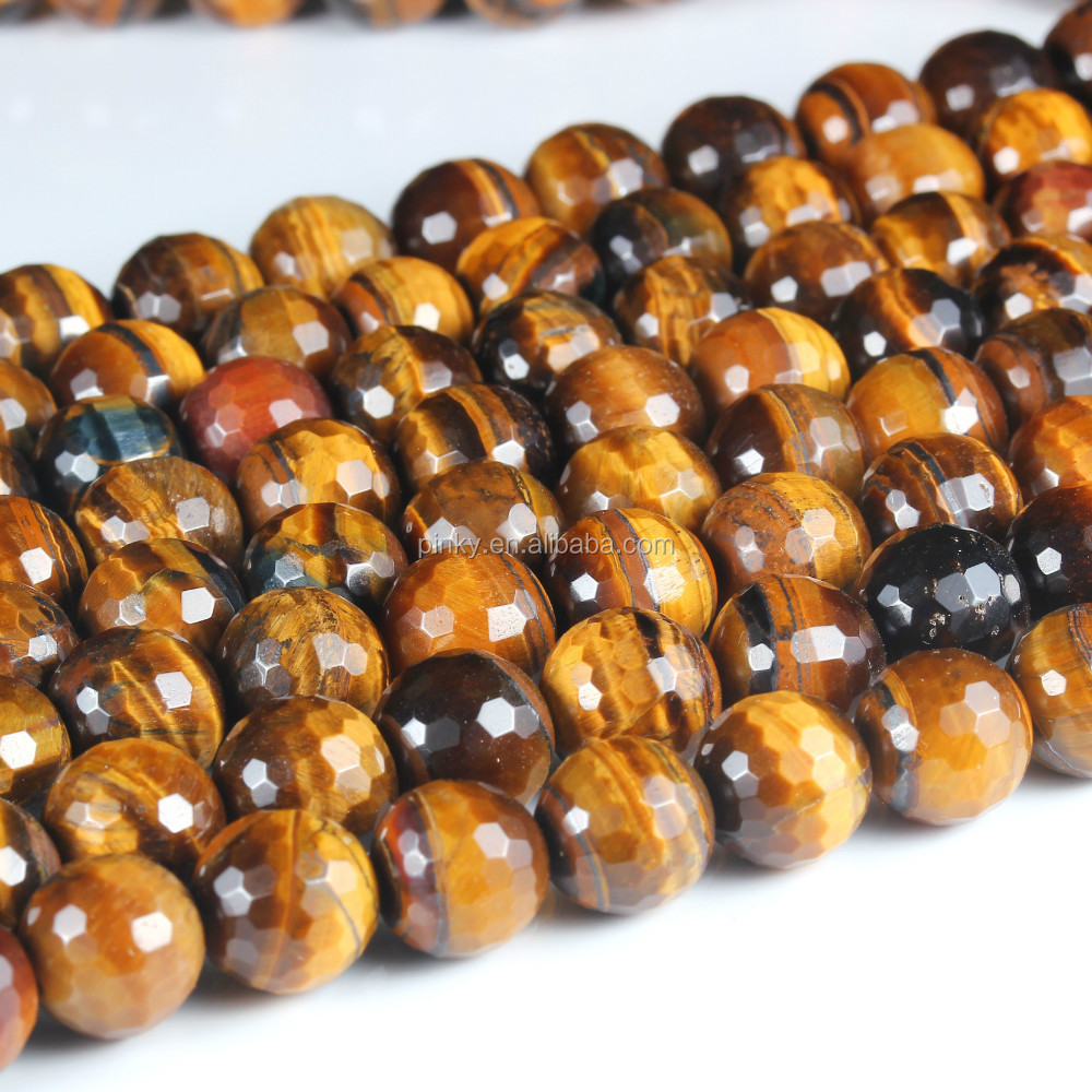 A Quality 8mm Faceted Yellow Tiger Eye Bezel Set Gemstone Beads Wholesale