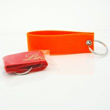 Wholesale laser cutting lovely logo customized felt keychain blank